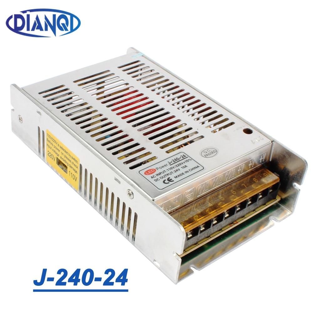 High quality new model  Strip 12V 20A 240W 24V 10A Switching Power Supply Silver LED AC 110-220V Input to DC 24V J-240-24