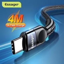 Essager USB סוג C כבל עבור סמסונג Xiaomi mi 3A מהיר טעינה USB-C כבל נייד טלפון מטען USBC סוג-C נתונים חוט כבל 3m
