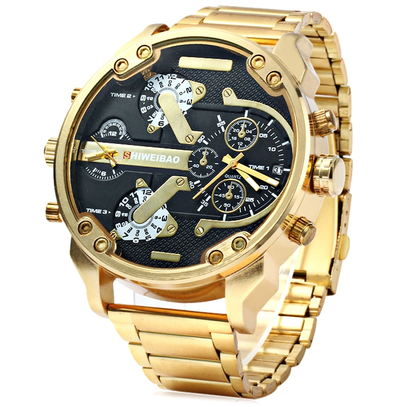 Big Watch Men Luxury Golden Steel Watchband Men's Quartz Watches Dual Time Zone Military Relogio Masculino Casual Clock Man XFCS