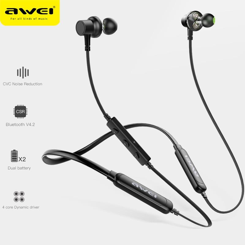 Беспроводные Bluetooth Наушники AWEI G20BL, наушники с микрофоном, двойной драйвер, шумоподавление, стерео звук, магнитная Спортивная гарнитура