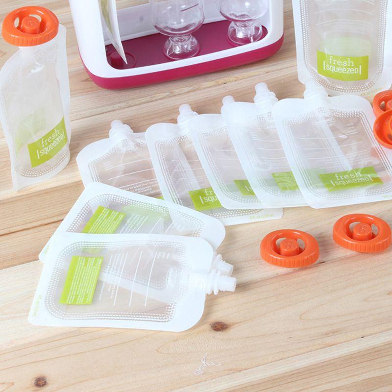 10 Pcs Children Puree Squeezer Home Kitchen Dispenser Accessories Baby Food Fresh Storage Bag Sub-package 19QF