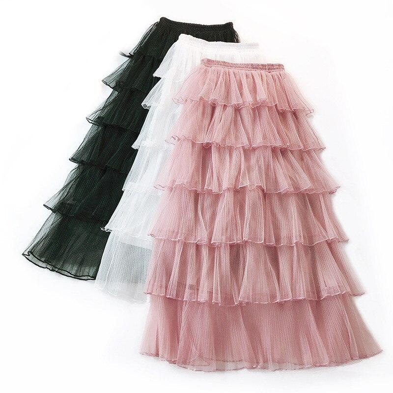 Falda a media pierna con volantes de tul en capas y cintura alta para mujer, falda de bailarina Blanca para primavera y verano para dama de honor
