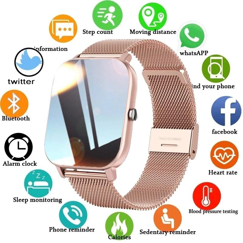 LIGE موضة ساعة ذكية النساء الرياضة اللياقة البدنية معدل ضربات القلب ضغط الدم رصد متعددة الوظائف سيدة ساعة مقاوم للماء Smartwatch