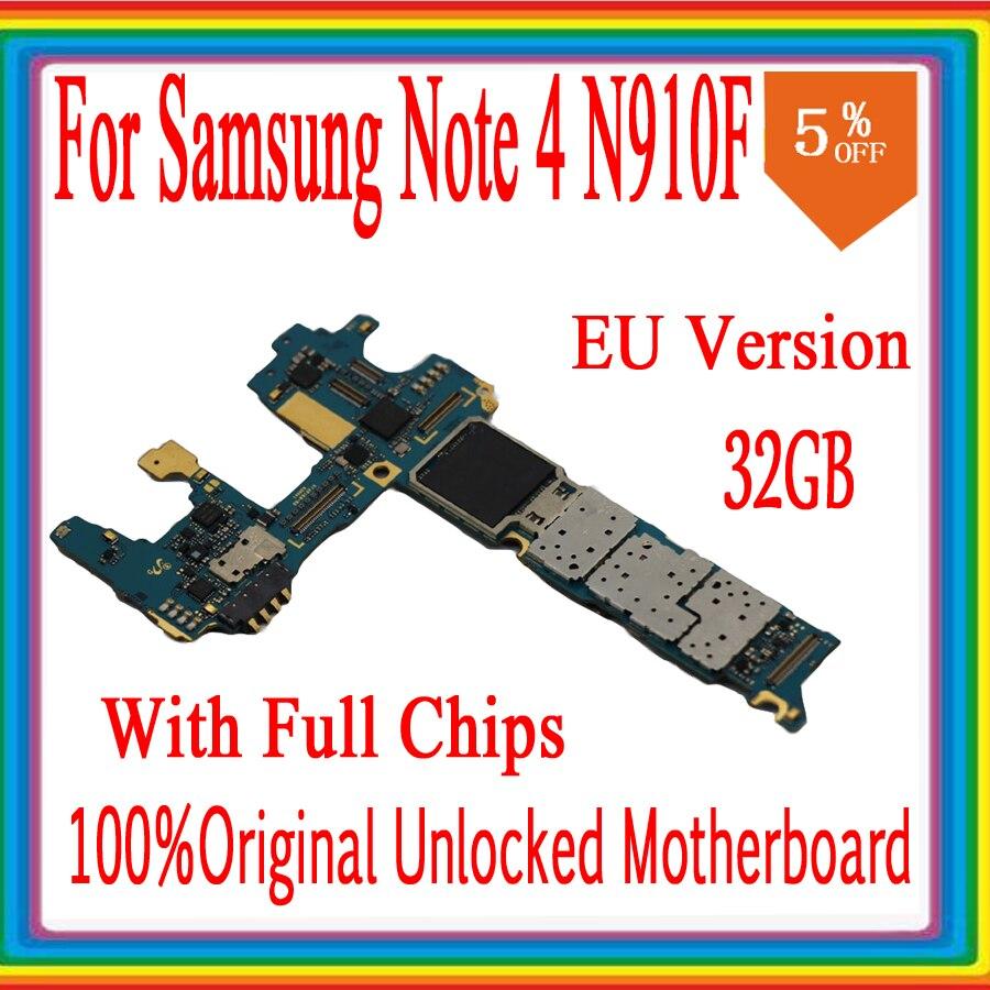 Para Samsung Galaxy Note 4 N910F Placa base con sistema OS, tablero lógica desbloqueado Original para Note 4 N910F placa base, versión EU