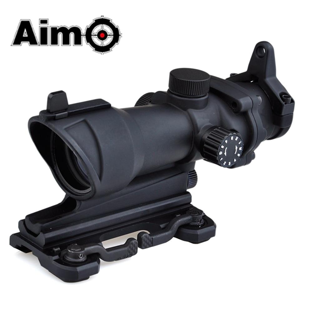 Caza táctica al aire libre ACOG 4 × 32 alcance retícula roja/verde con montura QD Alcance de mira de armas para accesorios de caza AO5319