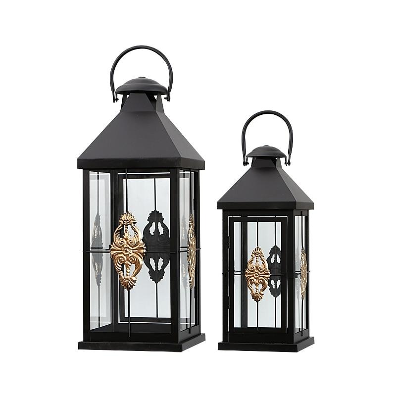 Portavelas Vintage de hierro negro, candelabro colgante romántico a prueba de viento, candelabro para exteriores, candelabro de cristal boogeiir BA60ZT