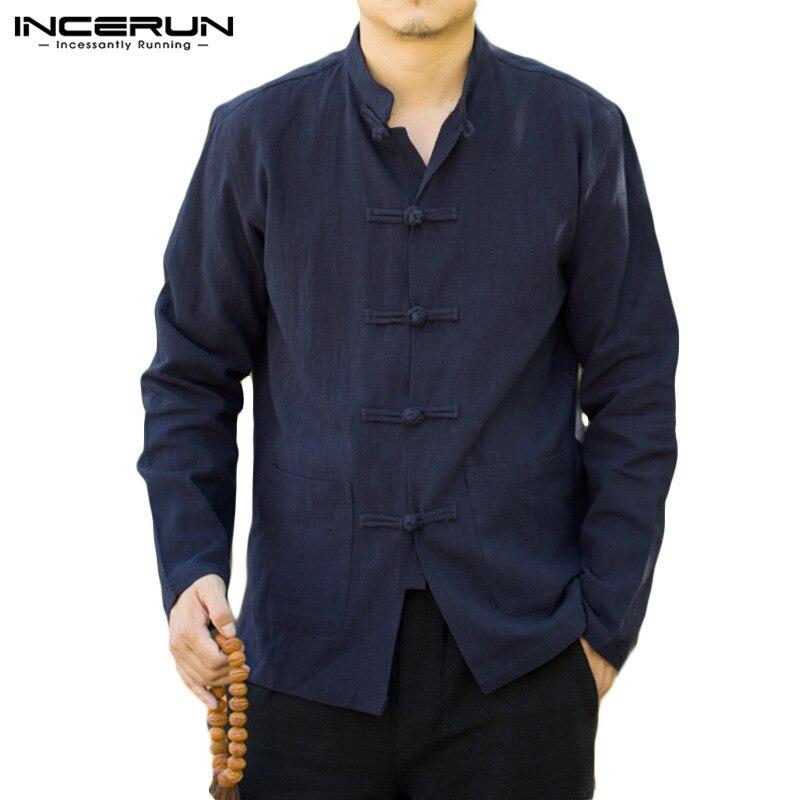 INCERUN camisa China Vintage hombres Color sólido Casual botón hasta el cuello de algodón ropa de calle otoño camisas de manga larga para hombres