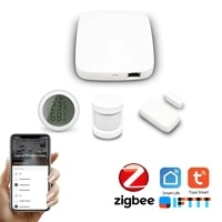 Tuya Zigbee Hub maison intelligente capteur PIR capteur de porte capteur de temperature et dhumidite scene domotique systeme dalarme de securite