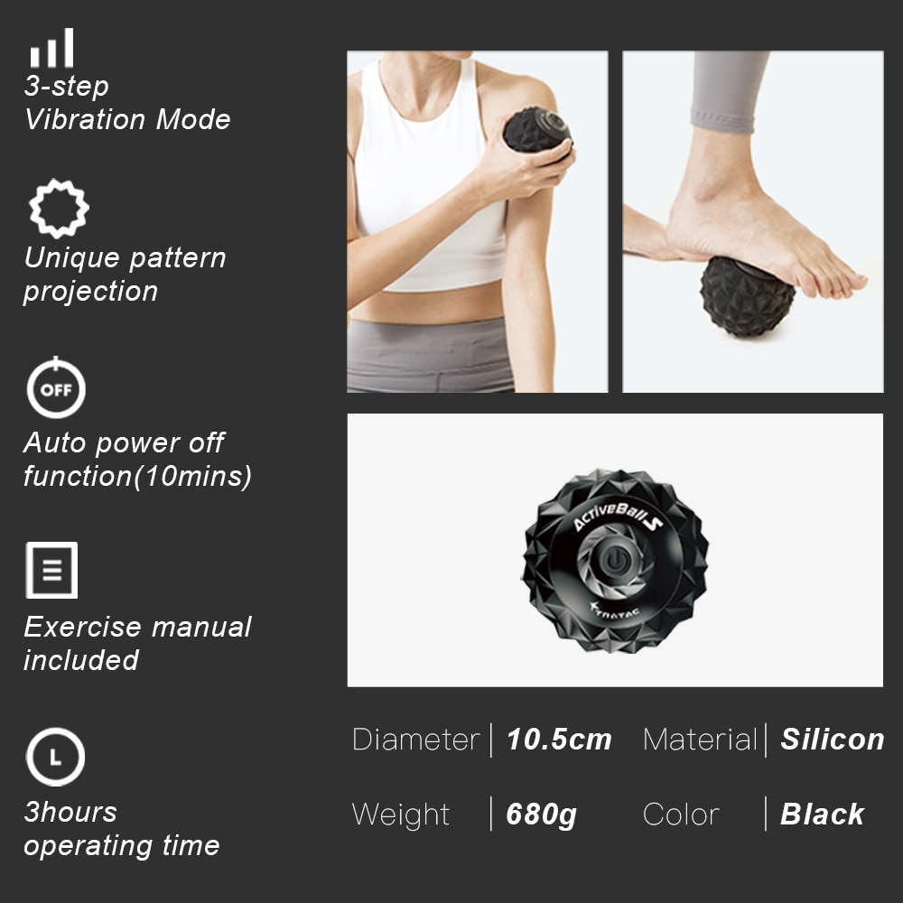 Booster Vibrating Massage Ball Electric Massage Roller Fitness Ball Relieve Trigger Training Fascia Ball Local Muscle Relaxation enlarge