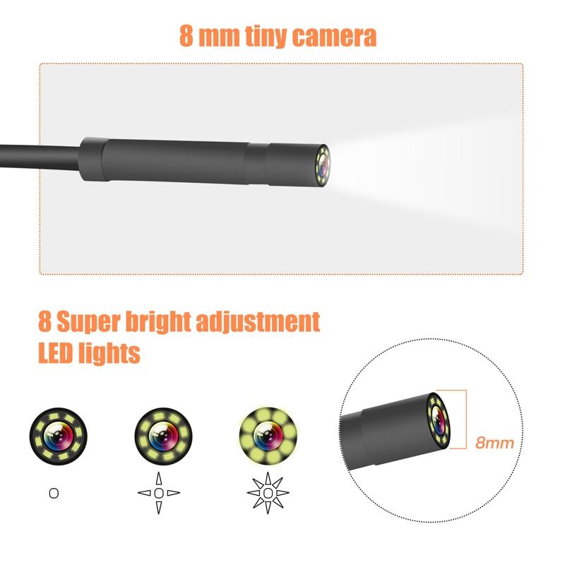 HD1080P IP67 8MM Lens Screen inspection endoscope camera waterproof borescope 4.3 inch HD TFT IPS Screen camera Car Monitor