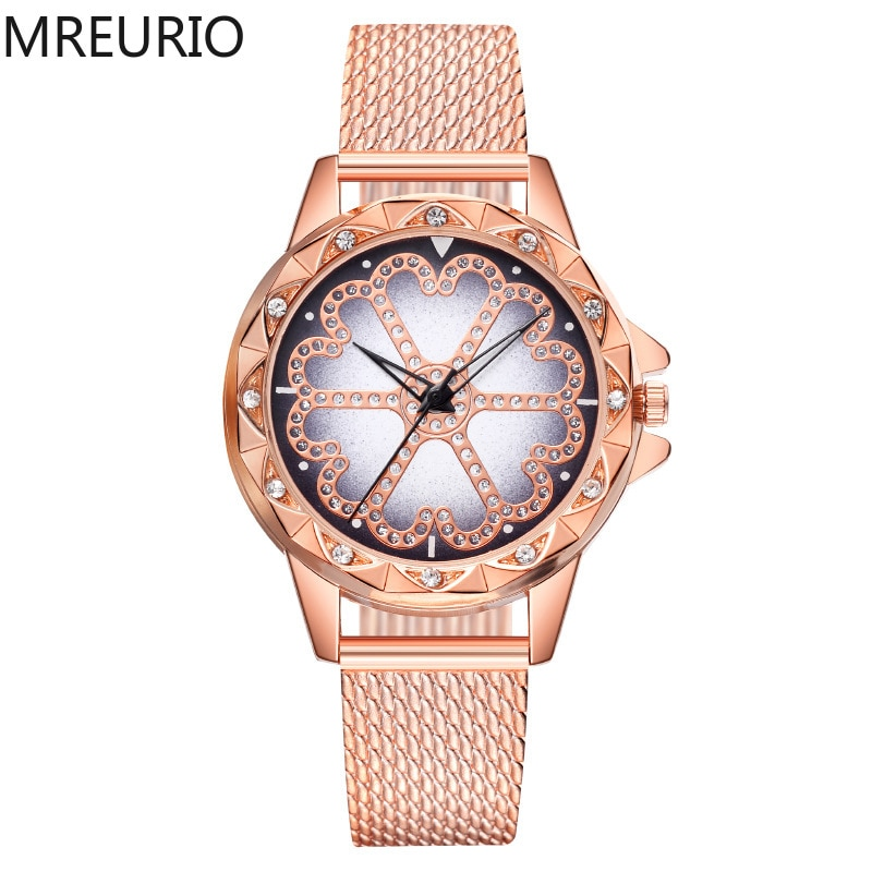 MREURIO Women's Watch Hot Lucky Style Lacy Diamond-Studded Plastic Milan Mesh Watchband  Elegant Watch for Women Casual Watch enlarge