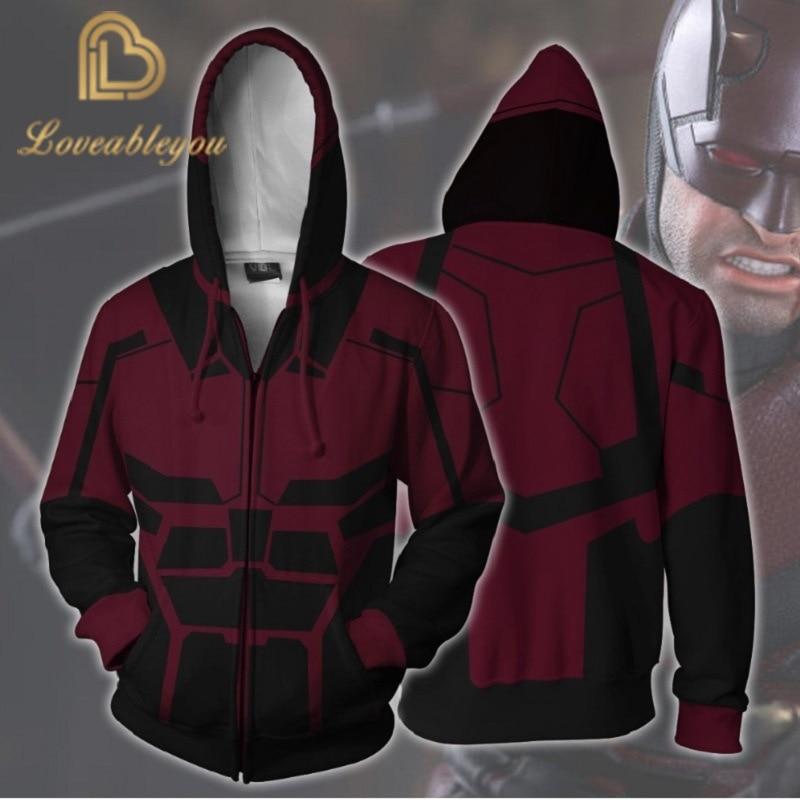2020 New Marvel Superhero Daredevil Cosplay Zipper Hoodie Men and Women Anime Costumes Pop Sports Sweater 3D Printing
