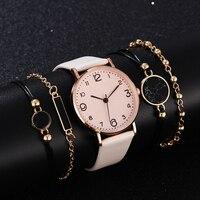 Комплект из 5 предметов, стильные модные женские Роскошные Аналоговые кварцевые наручные часы с кожаным ремешком, женские часы под платье, ж...