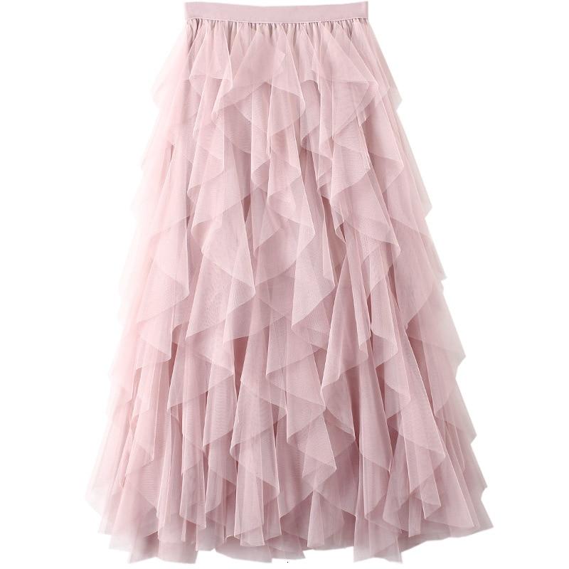 Falda de tul tutú de moda coreana 2019 Falda larga Maxi para mujer Primavera Verano otoño negro Rosa gris de cintura alta Falda plisada femenina