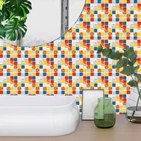 creative imitation tile wall stickers for kitchen bathroom decor waterproof wall decals peel and stick pvc tiles mural removable