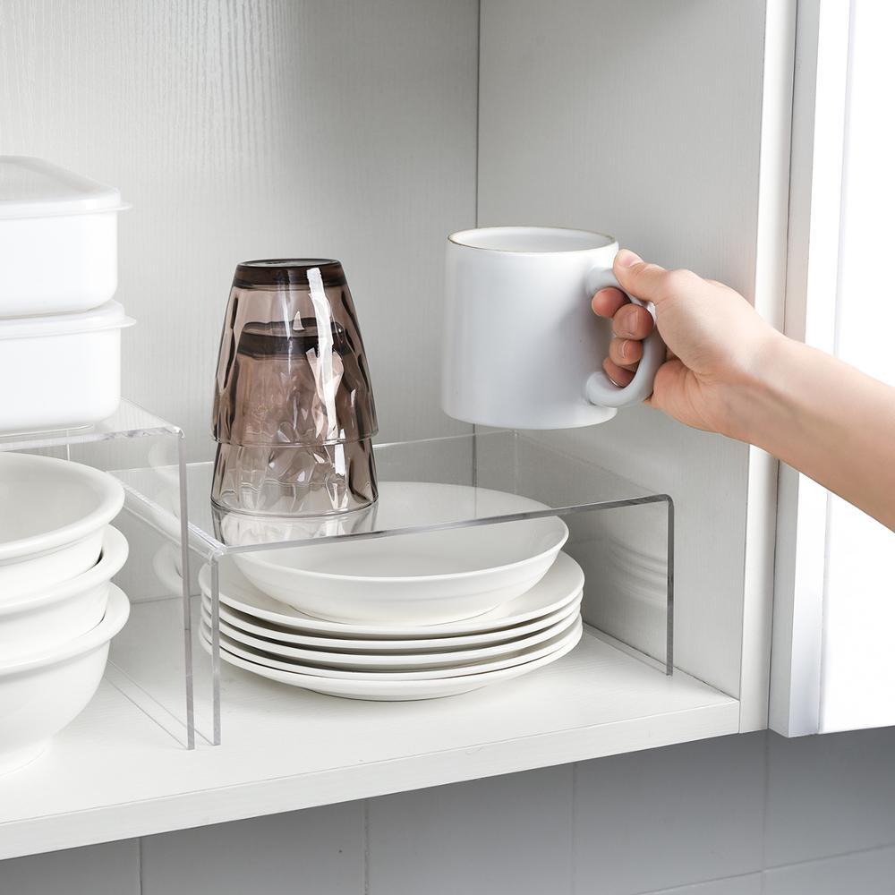 Acrylic Layered Storage Rack For Kitchen Cabinets Divider And Organizer Transparent Home Desktop Storage Racks