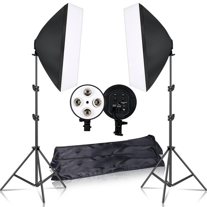 سوفت بوكس صندوق إضاءة ترايبود طقم الإضاءة 4 مصباح التصوير فلاش 50x70 سنتيمتر E27 قاعدة حامل كاميرا Feflector صور فيديو اطلاق النار