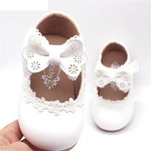 Brand Baby Girls Shoes Leather Solid infant Kids Shoes Lace Bowknot Princess Children Shoes For Todd
