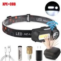 portable xpecob led headlight mini flashlight light waterproof usb rechargeable outdoor camping hiking night light
