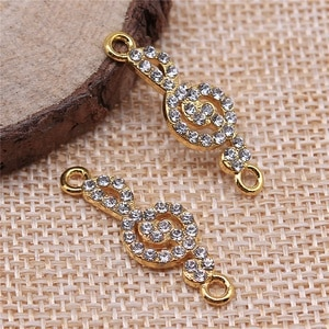 Charms for Jewelry Making Findings Handmade DIY Craft 10pcs Gold Color 29x10mm Note Connector Charms Pendant