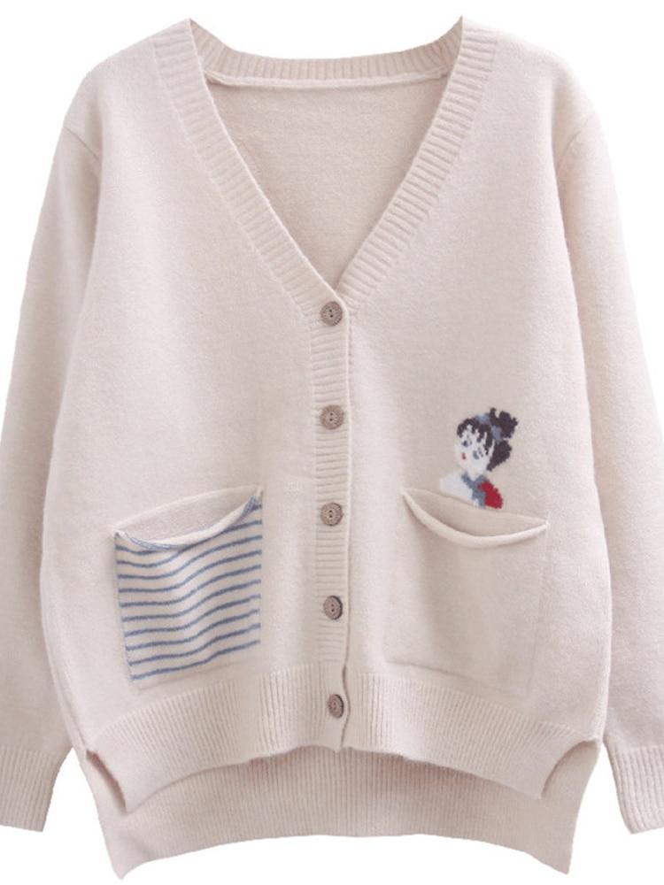 Ff4910 2019 neue herbst winter frauen mode lässig warme schöne Pullover strickjacke koreanische