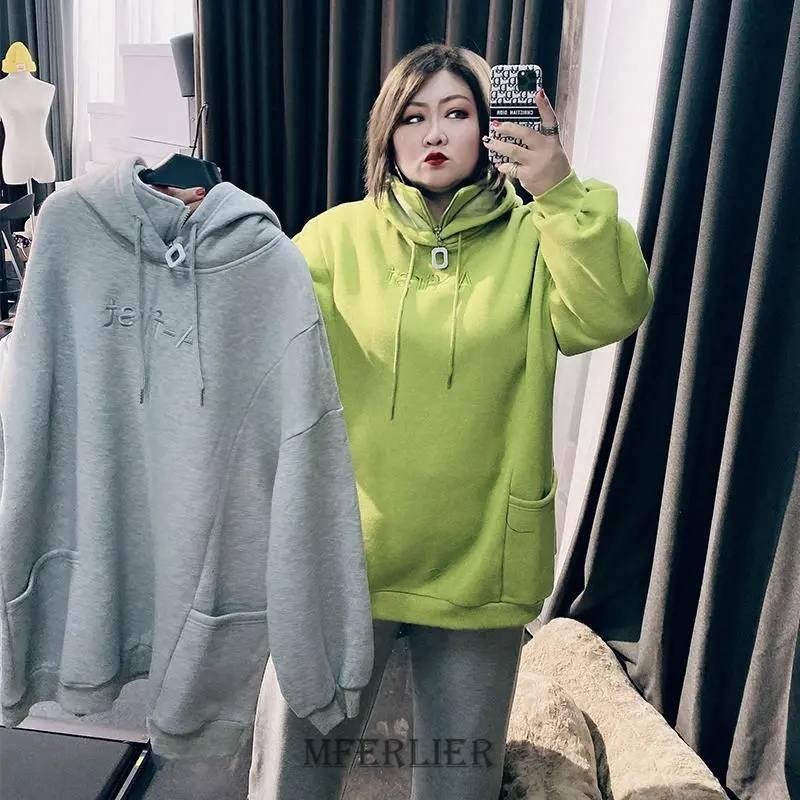 Size 8XL 150kg Winter Fleece Sweatshirt For Women Korean Hoodie Long Sleeve Women Casual Large Coats
