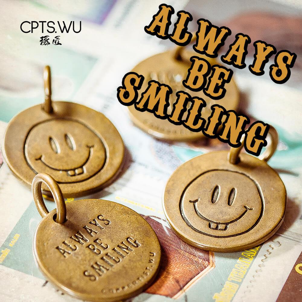 COPPERTIST.WU Smiley Face Chaveiro Sorte Encantos Casal Chaveiro Pingentes Esmalte Inteligente Bonito Anel Chave de Bronze Para Casa Hotel Tags Chave