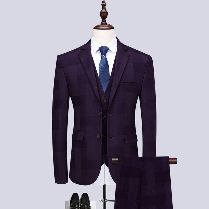 Trajes de negocios púrpura para hombre, trajes de boda personalizados, traje de hombre, ajustado, entallado, traje de solapa, Set (chaqueta + pantalones + chaleco)