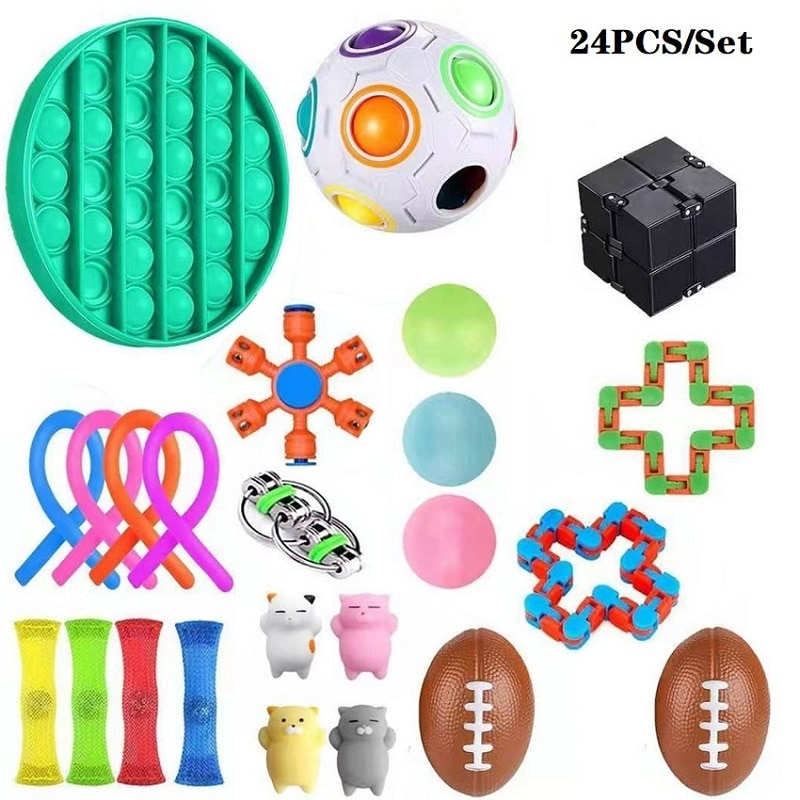 Fidget Sensory Toys Set Pops Bubbles Stress Relief Push It Fidget Toy Pack Set Toys To Relieve Children With Autism And Anxiety enlarge
