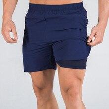 Short de Sport en cours dexécution hommes 2 en 1 Double couche pantalon court salle de Sport Fitness Jogging Bermuda fonds noirs été nouveau Short de plage masculin