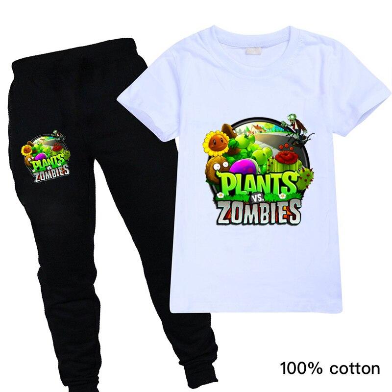 Klasyczne gry rośliny kontra zombie dzieci chłopcy letnie ubrania dres Tshirt topy i spodnie 2 sztuk Halloween strój odzież dla dzieci
