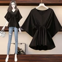 ehqaxin 2021 summer ladies casual v neck loose top short sleeve fashion solid color base shirt female simple style one size