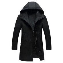 Nouveau pardessus en laine pour hommes hiver homme affaires décontracté à capuche laine pois manteau hommes marque pardessus Casaco Masculino BG1812