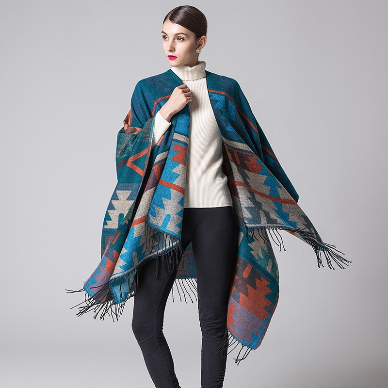 Hodisytian Fashion 2020 Spring Autumn Women Cloak Poncho Wool Cashmere Capes Shawl Clasp Vintage Geometric Print Scarf