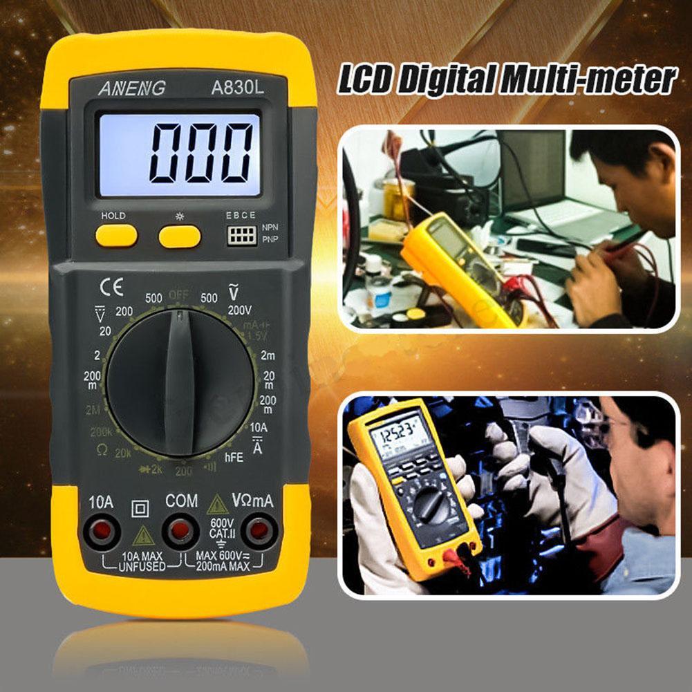 TESTEK-830 digital lcd multímetro voltímetro profissional mini amperímetro esr display ac dc tensão atual resistência medidor