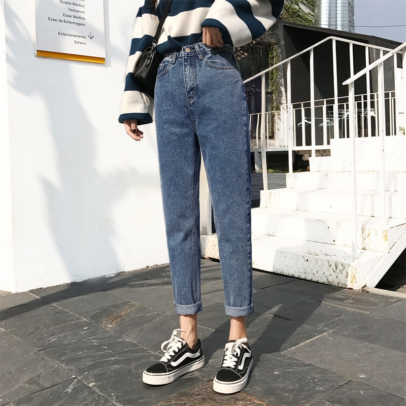2020 fashion, casual, street, all kinds of high waist, thin legs, long straight tube, retro, curly feet Harun jeans pants