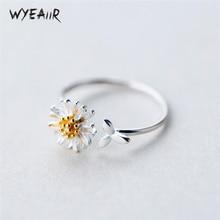 WYEAIIR littéraire chrysanthème doux belle fleur frais 925 en argent Sterling femelle redimensionnable ouverture anneaux