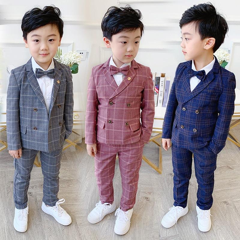 Flower Boys Formal Dress Suit Set Autumn Children Plaid Double Breasted Blazer Pants 2Pcs Clothes Set Kids Wedding Party Costume