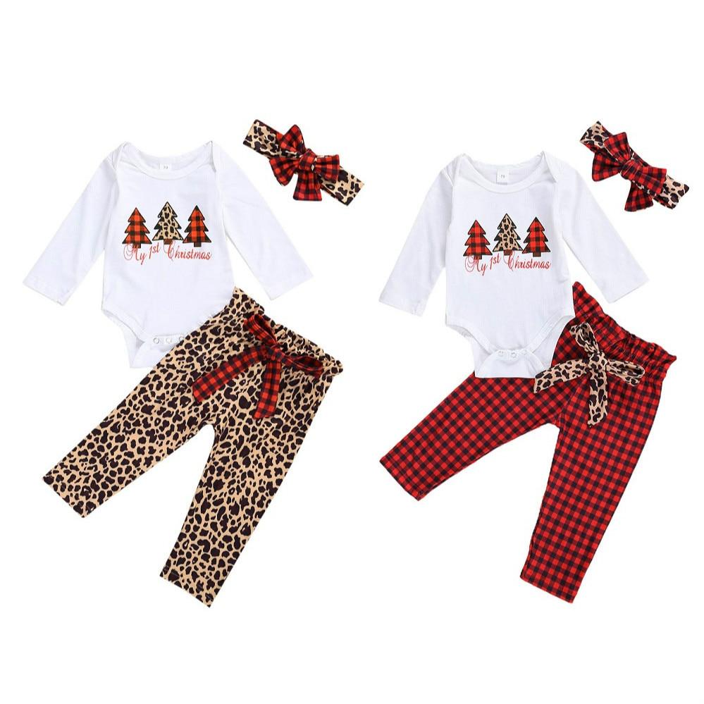 Christmas Newborn Baby Girl Clothes Set Long Sleeve Christmas Tree Print Romper+ Bow Pants+ Headband 3Pcs