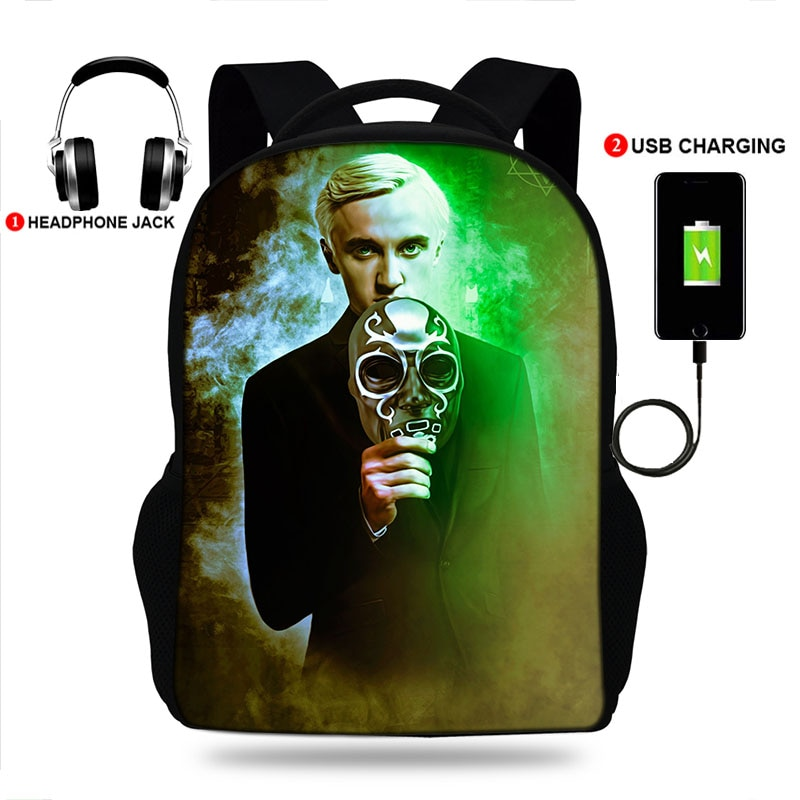 17inch Draco Malfoy College Backpack usb Charger Schoolbag Laptop Backpacks for Teenage School Bag M