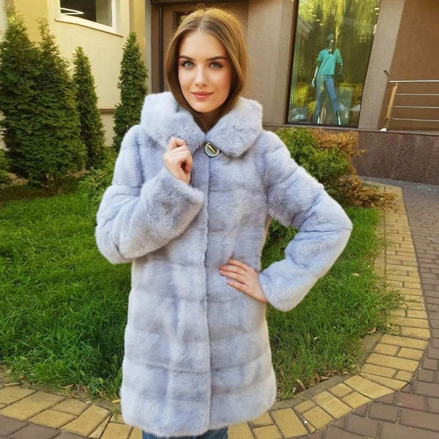 مقنعين الفراء سترة المرأة ريال فرو منك معطف الشتاء موضة معطف طويل مع طول انفصال والأكمام