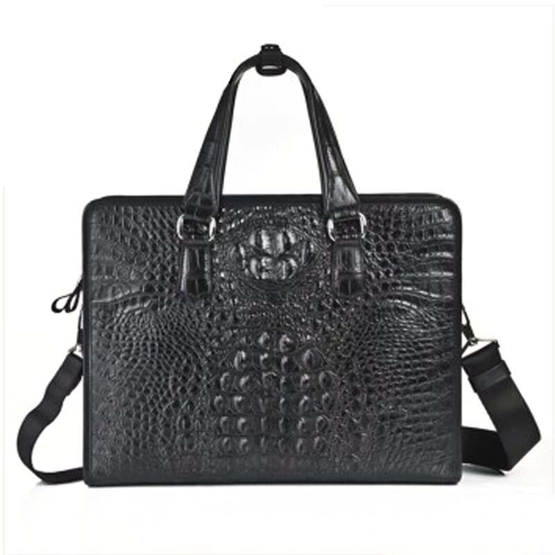 weitasi crocodile leather  Men handbag fashion  business casual men briefcase men's bag 37x28x8 handbag male crocodile bag