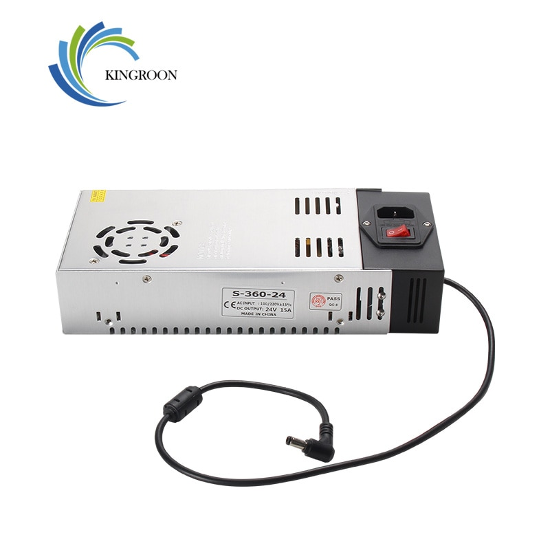 KingRoon-محول إمداد الطاقة ، 24 فولت 15 أمبير ، وحدة تحكم إلكترونية عالمية ، منظم تيار متردد ، تيار مستمر ، مع ضوء شريط LED ثلاثي الأبعاد لـ KP3