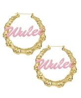 cute pink color custom name earrings nameplate customized hoop earring coloful earings name hoop earrings letter birthday gifts
