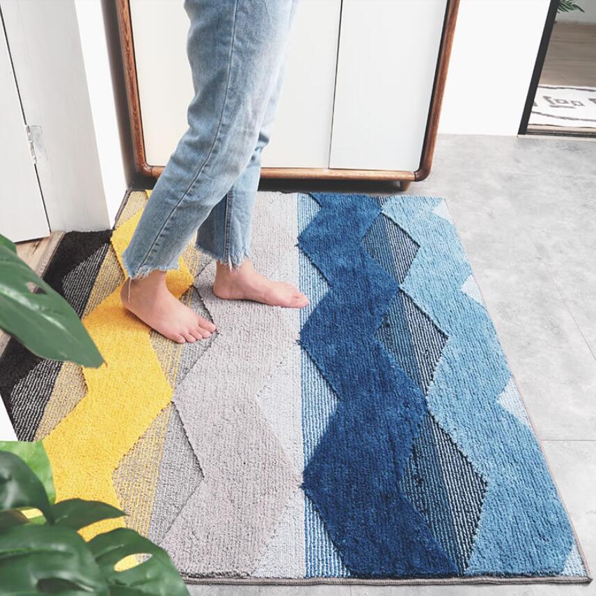 Alfombra gruesa Kilim geométrica para puerta, alfombra para entrada, sala de estar alfombra para, alfombra para área, alfombra para baño, alfombra antideslizante