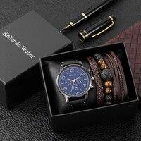 watch bracelet set men fashion blue quartz watch face leather strap brown woven bracelets wedding anniversary gifts for husband