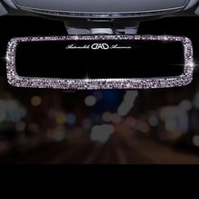 Miroir de vue arrière universel en strass diamant   Grand Angle, Style de voiture, décor de miroirs intérieurs en boule de cristal, ornement suspendu