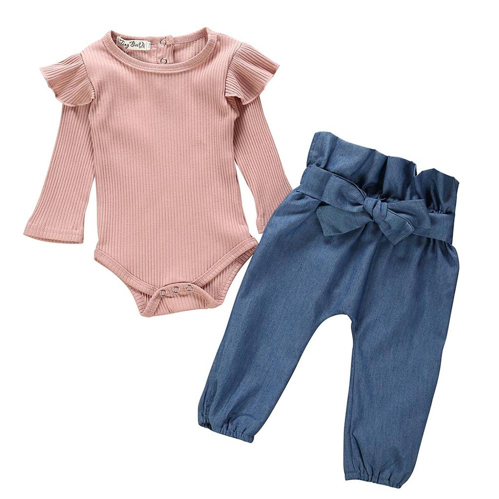 Spring Baby Girl Sets Clothes Outfit Solid Long Short Romper Bodysuit Denim Pants Jeans kit Top Dropshipping roupa infantil 40