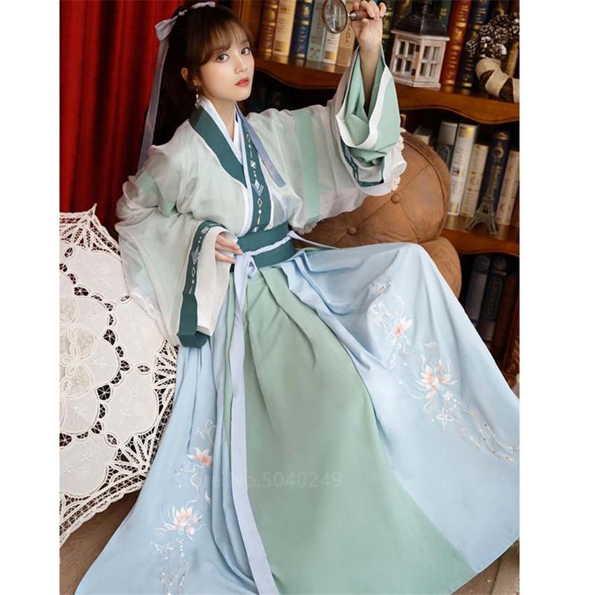 النساء Hanfu الصينية القديمة التقليدية زي جديد خمر فستان جنية التطريز أنيقة مرحلة الرقص أداء الملابس
