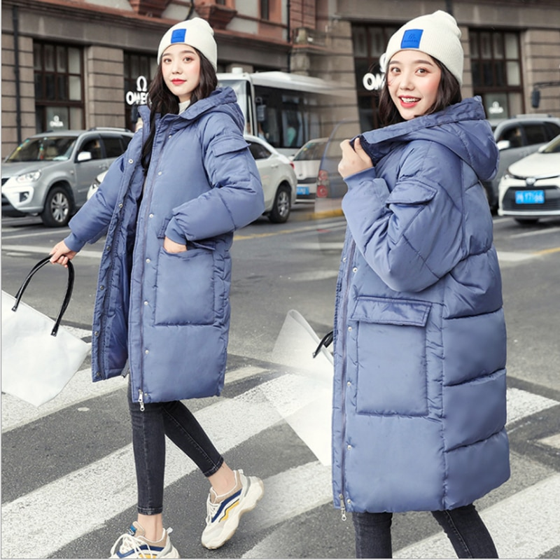 Winter Women's down jacket Oversized Loose Medium Long Cotton Coat New Women's Hooded Winter Pure Color Cotton-padded Parka